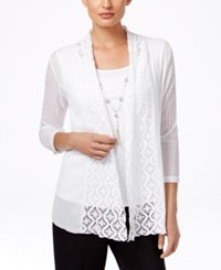 Alfred Dunner Petite Lace Layered Look Necklace Blouse White