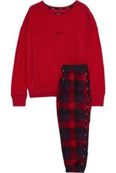 Dkny Embroidered Checked Fleece Pajama Set Red