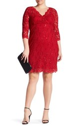 Marina Sequin Lace Dress Plus Size Red