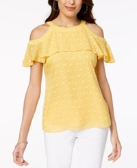 Thalia Sodi Cold Shoulder Textured Top Created For Macy's Cornmeal Yellow