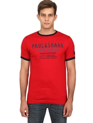 Paul And Shark Logo Printed Cotton Jersey T Shirt Red