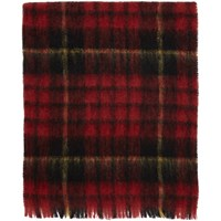 Comme Des Garcons Tricot Red And Yellow Mohair Tartan Scarf