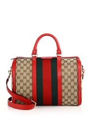 Gucci Vintage Web Medium Original Gg Canvas Boston Bag Beige Red