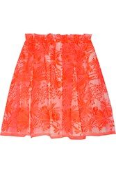 Maje Neon Embroidered Organza Mini Skirt Orange