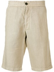 Z Zegna Knee Length Fitted Shorts Neutrals