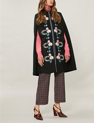 Vilshenko Alexis Embroidered Wool Twill Cape Black