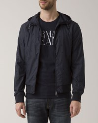 Armani Jeans All Over Blue Hooded Jacket With Logo