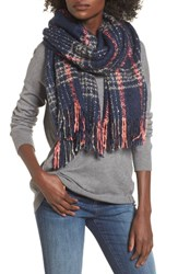 Sole Society Women's Speckled Check Blanket Scarf Navy Multi