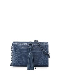 Nancy Gonzalez Small Tassel Crocodile Crossbody Bag Blue
