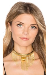 House Of Harlow Fringe Pyramid Necklace Metallic Gold