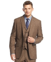 Bar Iii Carnaby Collection Slim Fit Brown Tweed Herringbone Jacket