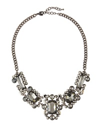 Greenbeads By Emily And Ashley Gunmetal Crystal Cluster Statement Necklace Grey