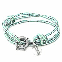 Anchor And Crew Green Dash Clyde Rope Silver Bracelet