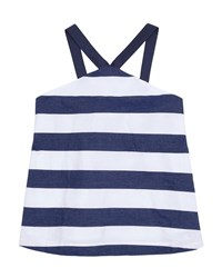 Habitual Harriet Striped Baby Doll Halter Top Size 7 14 Blue