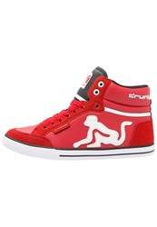 Drunknmunky Boston Classic Hightop Trainers Red Black