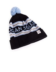 Tuck Shop Co. Logan Square Striped Pompom Beanie Black