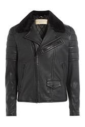 Burberry Brit Leather Biker Jacket With Shearling Black