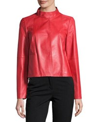 Lafayette 148 New York Crawford Leather Topper Jacket Ruby