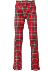 Guild Prime Plaid Slim Fit Trousers Red
