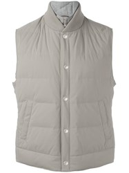 Brunello Cucinelli Buttoned Padded Gilet Grey