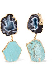 Dara Ettinger Gold Plated Agate Earrings Turquoise