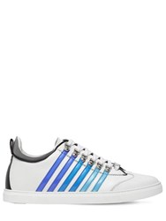 Dsquared New 251 Stripes Leather Sneakers White Blue