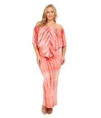 Culture Phit Plus Size Ayden Dress Coral Tye Dye Women's Dress Red