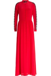 The Kooples Floor Length Silk Dress Wth Lace Red