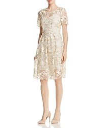 T Tahari Antoinette Floral Embroidered Dress Ivory Gold