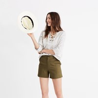 Madewell High Rise Twill Shorts Military Surplus