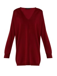 The Row Miru V Neck Sweater Red