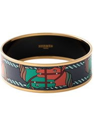 Hermes Vintage Horse Patterned Bangle Multicolour