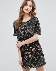 Vila Floral Short Sleeve Shift Dress Black