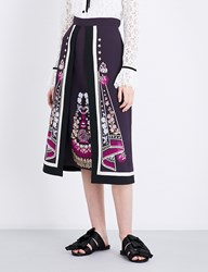 Temperley London Parchment Embroidered Crepe Skirt Aurbergine Mix