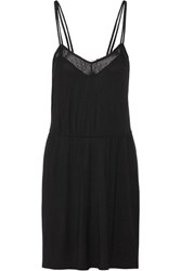 Skin Lace Trimmed Stretch Jersey Chemise Black