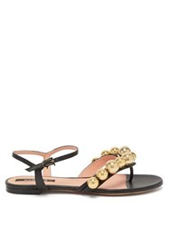 Rochas Bead Embellished Leather Sandals Black Gold