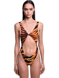 Dsquared Tiger Print Cutout One Piece Swimsuit