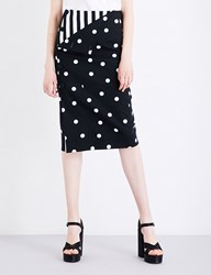 Monse Polka Dot Print Stretch Cotton Pencil Skirt Black White
