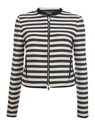 Armani Jeans Stripe Jacket With Pu Trim Navy And White