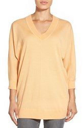 Women's Nordstrom Collection Dolman Sleeve V Neck Cashmere Sweater Orange Apricot
