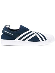 Adidas White Mountaineering 'Primeknit Superstar' Slip On Shoes Women Cotton Nylon Rubber 9 Blue