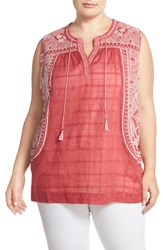 Plus Size Women's Lucky Brand Embroidered Sleeveless Cotton Blouse