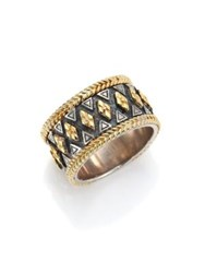 Konstantino Hebe Engraved 18K Yellow Gold And Sterling Silver Ring Silver Gold