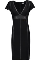 Just Cavalli Faux Leather Paneled Stretch Jersey Dress Black