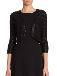 Oscar De La Renta Sequined Bolero Jacket Black Gold