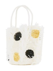 Sensi Studio Polka Dots Tote Bag Women Straw One Size White