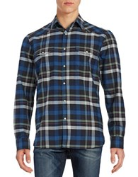 Lucky Brand Santa Fe Western Snap Button Shirt Blue Green