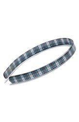France Luxe 'Ultracomfort' Plaid Headband Blue Tartan Plaid Navy Green Wht