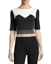 Romeo And Juliet Couture Angled Colorblock Crop Top Black Ivory Gray