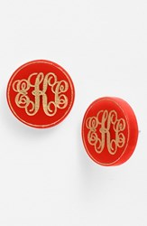 Women's Moon And Lola 'Chelsea' Medium Personalized Monogram Stud Earrings Ruby Gold Nordstrom Exclusive